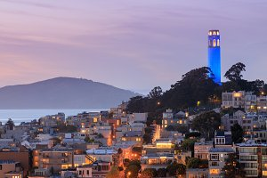 Coit Tower in Blue