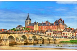View of Gien with the castle and the bridge across the Loire - France