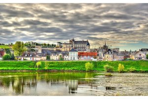 View of Amboise town with the castle and the Loire river. France.