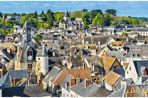 View of the medieval town of Amboise in France, the Loire Valley