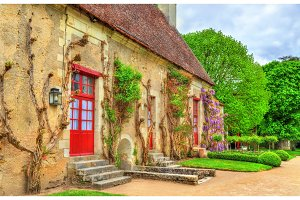 Garden at the Chenonceau Castle in the Loire Valley of France
