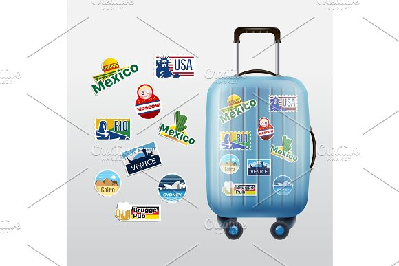 Set Of Traveling Stamps And Luggage