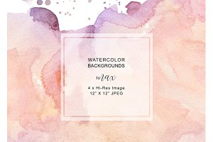 Watercolor Pink Orange Backgrounds