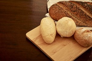 Breakfast different bread on the table