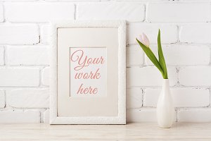 White frame mockup with tender pink