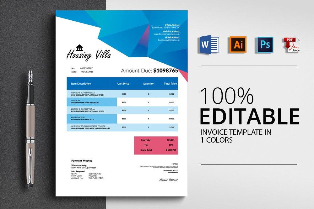 Invoice Template (Word,ai,pdf,psd)