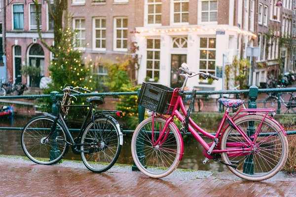 Abstract Stock Photos: Tekso - Bicycles lining a bridge over the canals of Amsterdam