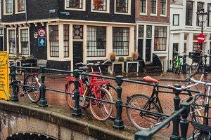 Bike on day light during the rain.