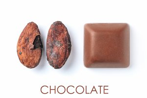Raw cacao bean and chocolate piece isolated white