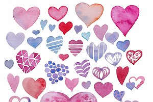 Cute watercolor hearts pack