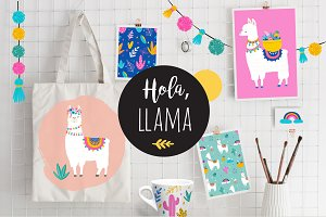 Hola, Llama! Cute summer collection