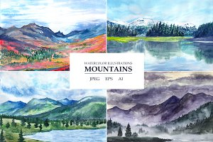 Watercolor landscapes. Mountains