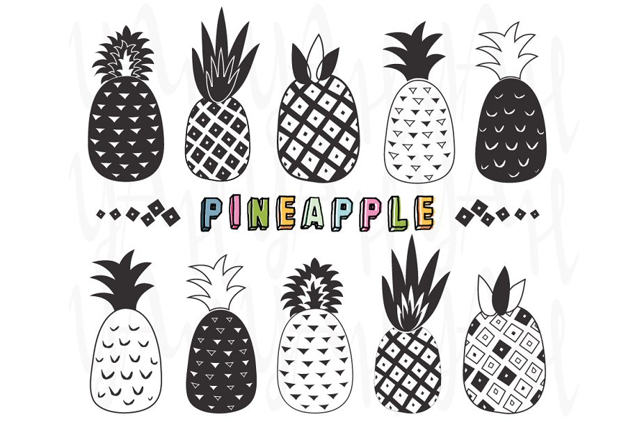 Doodles Pineapple Collection Illustrations Creative Market