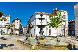 Fountain on Place du Minage in Angouleme, France