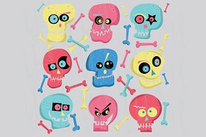 Colorful Cute Skull ClipArt