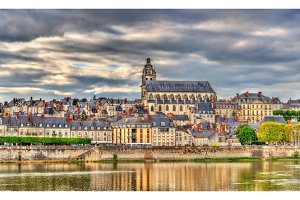 View of the old town of Blois and the Loire river - France