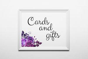 Cards and gifts. Purple wedding sign