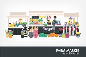 Farm market, organic food - banner