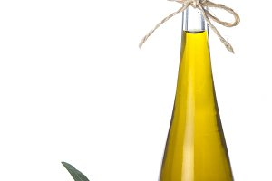 Extra virgin olive oil bottle isolated on white