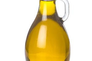 Olive oil bottle isolated on a white backgroun