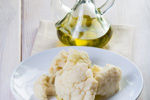 Boiled cauliflower with extra virgin olive oil