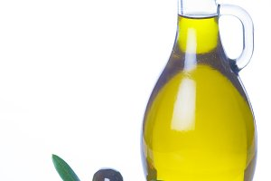 Olive oil isolated on a white background