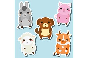 Cute farm animals stickers