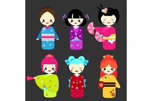 Cute japanese kokeshi dolls