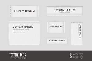 Set of different textile tags