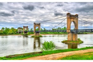 Suspension Bridge spanning the Loire in Langeais, France