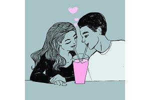Couple in love, young woman and man drinking pink color milkshake. Vector Valentine's day pop art style illustration.