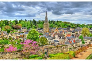 View of Langeais town with St. Jean Baptiste Church. France, the Loire Valley