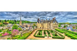 View of the Chateau de Langeais, a castle in the Loire Valley, France