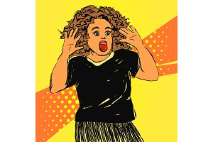 Scared screaming woman with opened mouth and hands up. Vector hand drawn pop art illustration.
