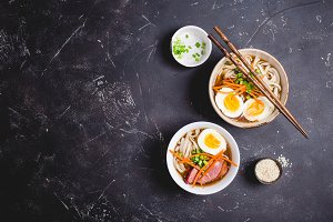 Bowls with Japanese soup ramen