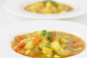 Vegetable soup on white background