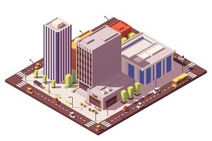 Vector low poly isometric city block