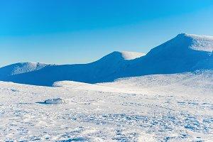 White winter mountains in snow.