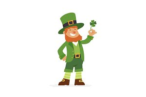 Saint Patrick - modern vector cartoon people characters illustration