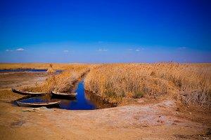 runed Urga fishing village at the shore of Sudochye lake aka par