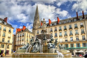 Fountain on the Place Royal in Nantes, France