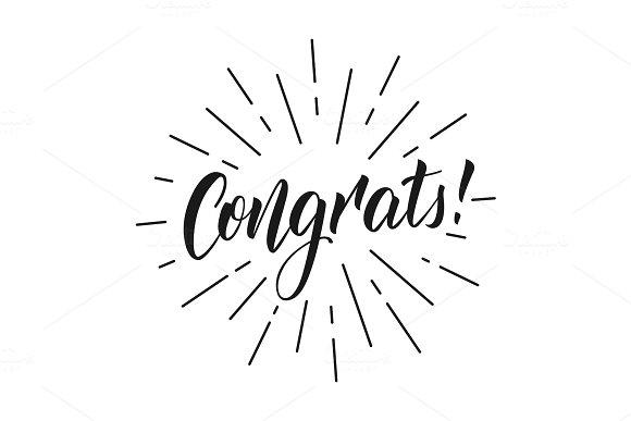 Congrats Lettering Inscription Congrats For Greeting Card