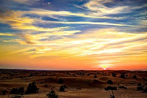 Sunset panorama landscape at arabian desert, Dubai, UAE