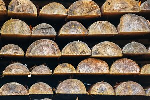 Rows of wooden logs