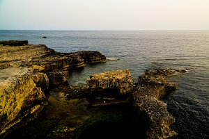 Sea view from Azure window natural arch, now vanished, Gozo island, Malta