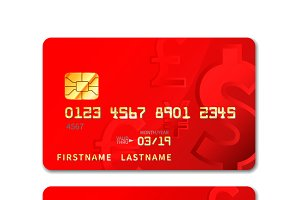 Red realistic credit card with chip