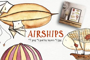 AIRSHIP - steampunk set, watercolor