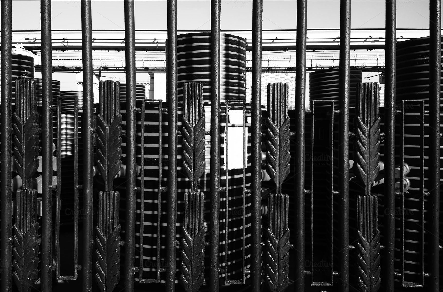 Dramatical Black And White Fence Abstract City Background Abstract