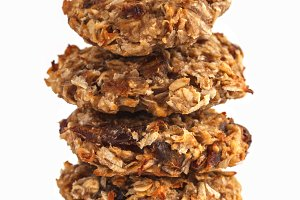 Vegan oatmeal cookies, isolated