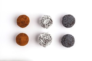 Raw vegan balls, isolated